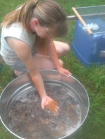 First washing of fleece often results in brown water from build-up of soil, pollen, and other debris.