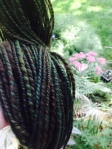 """First """"dyed and true"""" hand-spun yarn off the farm."""
