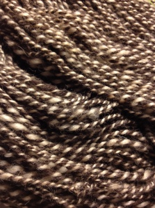 Hand spun from local Shetland, this is the latest skein rolling off the farm.