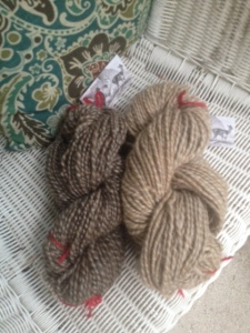 Small skein shown at left $12 / Skein at right $18  / 80% Suri alpaca fibers blended with local Shetland